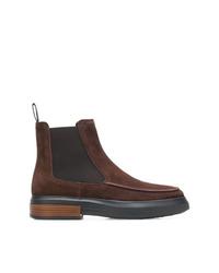 Stivali chelsea in pelle scamosciata marrone scuro di Tod's