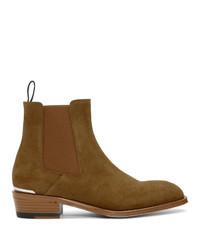 Stivali chelsea in pelle scamosciata marroni di Alexander McQueen