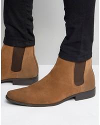 Stivali chelsea in pelle scamosciata marroni di ASOS DESIGN
