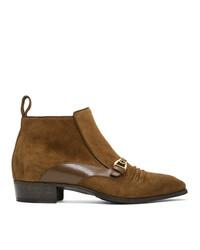 Stivali chelsea in pelle scamosciata marroni di Gucci