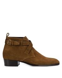 Stivali chelsea in pelle scamosciata marroni di Saint Laurent