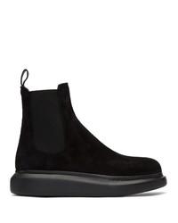 Stivali chelsea in pelle scamosciata neri di Alexander McQueen