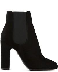 Stivali chelsea in pelle scamosciata neri di Dolce & Gabbana