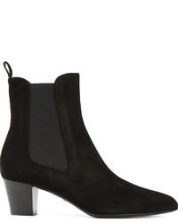 Stivali chelsea in pelle scamosciata neri di Gucci