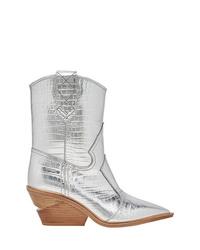 Stivali da cowboy in pelle argento di Fendi