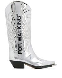 Stivali da cowboy in pelle argento di Off-White