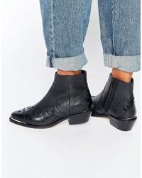 Stivali da cowboy in pelle neri di Asos