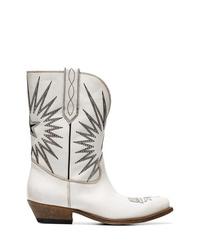 Stivali da cowboy in pelle ricamati bianchi di Golden Goose Deluxe Brand