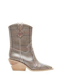 Stivali da cowboy in pelle scozzesi grigi di Fendi