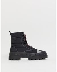 Stivali da lavoro in pelle neri di Diesel