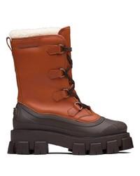 Stivali da neve in pelle terracotta di Prada