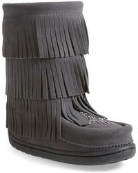 Stivali in pelle scamosciata grigio scuro