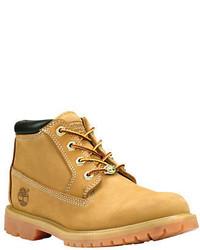 Stivali piatti stringati in nubuck marrone chiaro