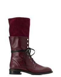 Stivali piatti stringati in pelle bordeaux di Stuart Weitzman