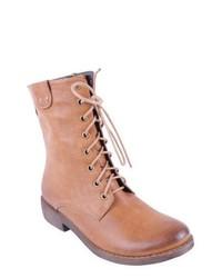 Stivali piatti stringati in pelle marrone chiaro