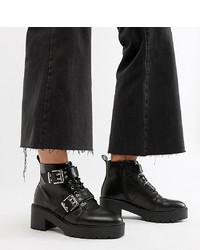 Stivali piatti stringati in pelle neri di ASOS DESIGN