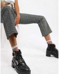 Stivali piatti stringati in pelle pesanti neri di ASOS DESIGN