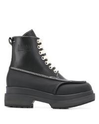 Stivali piatti stringati in pelle pesanti neri di MM6 MAISON MARGIELA