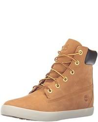 Stivali piatti stringati in pelle scamosciata marrone chiaro