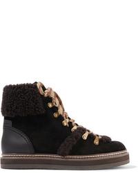 Stivali piatti stringati in pelle scamosciata marrone scuro