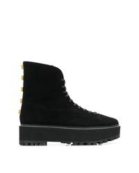 Stivali piatti stringati in pelle scamosciata neri di Stuart Weitzman