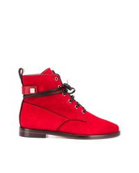Stivali piatti stringati in pelle scamosciata rossi di Stuart Weitzman