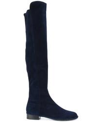 Stivali sopra il ginocchio blu scuro di Stuart Weitzman