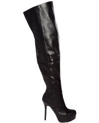 Stivali sopra il ginocchio in pelle neri
