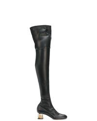 Stivali sopra il ginocchio in pelle neri di Alexander McQueen