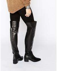 Stivali sopra il ginocchio in pelle neri di Asos