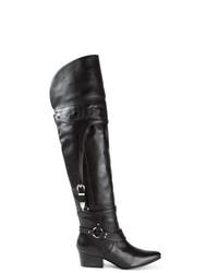 Stivali sopra il ginocchio in pelle neri di Toga