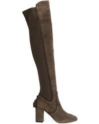 Stivali sopra il ginocchio in pelle scamosciata grigio scuro di Aquazzura