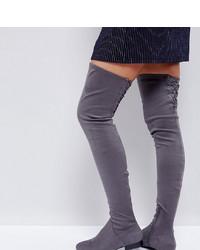 Stivali sopra il ginocchio in pelle scamosciata grigio scuro di ASOS DESIGN