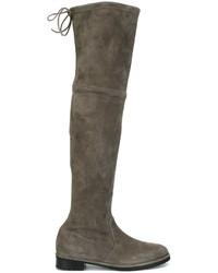 Stivali sopra il ginocchio in pelle scamosciata grigio scuro di Baldinini