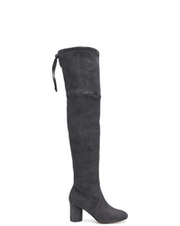 Stivali sopra il ginocchio in pelle scamosciata grigio scuro di Stuart Weitzman