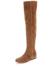 Stivali sopra il ginocchio in pelle scamosciata marrone chiaro