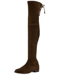 Stivali sopra il ginocchio in pelle scamosciata marrone scuro