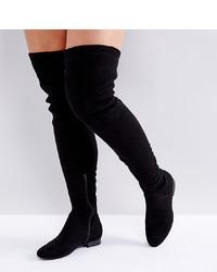 Stivali sopra il ginocchio in pelle scamosciata neri di ASOS DESIGN