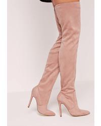 Stivali sopra il ginocchio in pelle scamosciata rosa