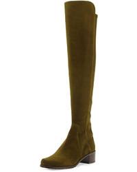 Stivali sopra il ginocchio in pelle scamosciata verde oliva