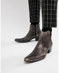 Stivali texani in pelle grigio scuro di Jeffery West