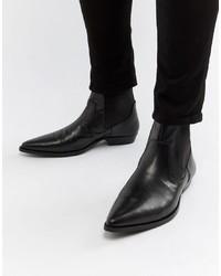 Stivali texani in pelle neri di ASOS DESIGN