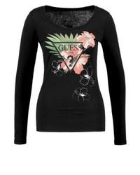 T-shirt a maniche lunghe a fiori nera di GUESS