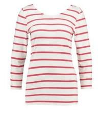 T-shirt a maniche lunghe a righe orizzontali bianca di Object