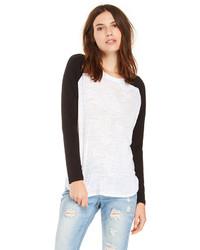 T shirt a maniche lunghe bianca e nera original 3140115