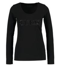 T-shirt a maniche lunghe nera di GUESS