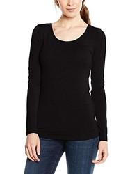 T-shirt a maniche lunghe nera di Selected Femme