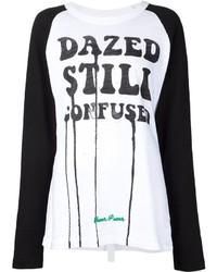T-shirt a maniche lunghe stampata bianca e nera