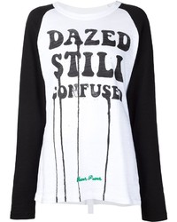 T-shirt a maniche lunghe stampata bianca e nera di Off-White