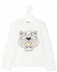 T-shirt a maniche lunghe stampata bianca di Kenzo